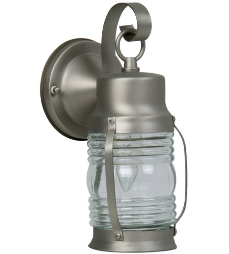 Craftmade Z112-BN Nautical 1 Light 10 inch Brushed Satin Nickel Outdoor Wall Lantern, Small photo
