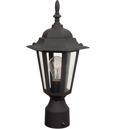 Craftmade Z155-TB Straight Glass 1 Light 16 inch Textured Matte Black Outdoor Post Light, Small photo