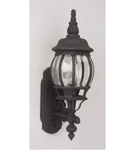 French Style 1 Light 22 Inch Textured Matte Black Outdoor Wall Lantern Small