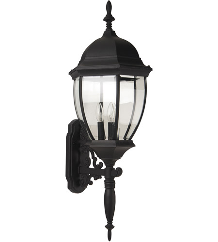 Craftmade Z580-TB Bent Glass 3 Light 36 inch Textured Matte Black Outdoor Wall Lantern, Large photo thumbnail