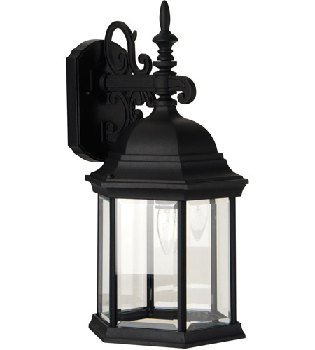 Craftmade Z694-TB Hex Style 1 Light 18 inch Textured Matte Black Outdoor Wall Lantern in Clear Beveled, Large photo thumbnail