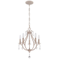 Signature 5 Light 15 inch Antique Linen Mini Chandelier Ceiling Light in Clear Crystal Accents