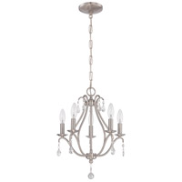 Signature 5 Light 15 inch Brushed Nickel Mini Chandelier Ceiling Light in Clear Crystal Accents