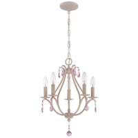 Signature 5 Light 15 inch Antique Linen Mini Chandelier Ceiling Light in Pink Crystal Accents