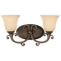 Craftmade 10409PR2 Aztec 2 Light 17 inch Peruvian Bronze Vanity Light Wall Light in Antique Scavo Glass