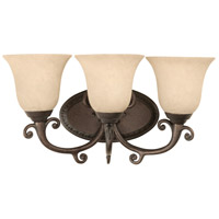 Craftmade 10418PR3 Aztec 3 Light 19 inch Peruvian Bronze Vanity Light Wall Light in Antique Scavo Glass