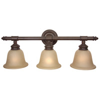 Fresno 3 Light 26 inch Aged Bronze Vanity Light Wall Light in Tea-Stained Glass