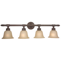Fresno 4 Light 35 inch Aged Bronze Vanity Light Wall Light in Tea-Stained Glass