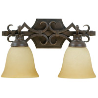 Florence 2 Light 16 inch Aged Bronze Vanity Light Wall Light in Tea-Stained Glass