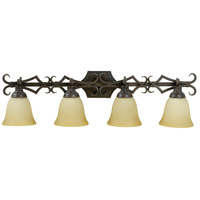 Florence 4 Light 35 inch Aged Bronze Vanity Light Wall Light in Tea-Stained Glass