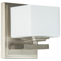 Encanto 1 Light 4 inch Brushed Nickel Wall Sconce Wall Light in Opal Glass