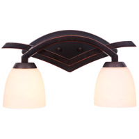 Viewpoint 2 Light 16 inch Oil Bronze Gilded Vanity Light Wall Light in Oiled Bronze Gilded, White Frosted Glass, Jeremiah