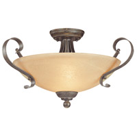 Brookfield 3 Light 20 inch Brownstone Semi-Flush Ceiling Light in Tea-Stained Alabaster Glass