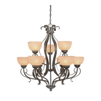 Jeremiah by Craftmade Brookfield 9 Light Chandelier in Brownstone 14429-BST