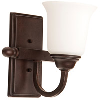 Craftmade 15209AG1-WG Madison 1 Light 9 inch Aged Bronze Textured Wall Sconce Wall Light in White Frosted Glass, Jeremiah