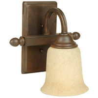 Craftmade 15209AG1 Madison 1 Light 9 inch Aged Bronze Textured Wall Sconce Wall Light in Antique Scavo Glass