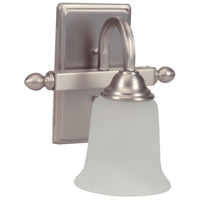 Madison 1 Light 9 inch Brushed Satin Nickel Wall Sconce Wall Light in White Frosted Glass
