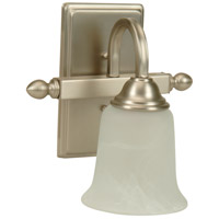 Craftmade 15209BN1 Madison 1 Light 9 inch Brushed Satin Nickel Wall Sconce Wall Light in Alabaster Glass