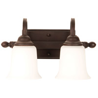Madison 2 Light 14 inch Aged Bronze Textured Vanity Light Wall Light in White Frosted Glass, Jeremiah