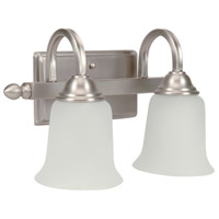Madison 2 Light 14 inch Brushed Satin Nickel Vanity Light Wall Light in White Frosted Glass