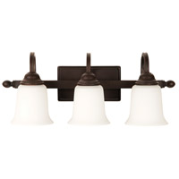 Madison 3 Light 21 inch Aged Bronze Textured Vanity Light Wall Light in White Frosted Glass, Jeremiah