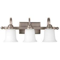 Madison 3 Light 21 inch Brushed Satin Nickel Vanity Light Wall Light in White Frosted Glass