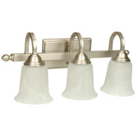 Madison 3 Light 21 inch Brushed Nickel Vanity Light Wall Light in Alabaster Glass