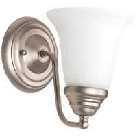 Cathryn 1 Light 6 inch Brushed Satin Nickel Wall Sconce Wall Light in White Frosted Glass