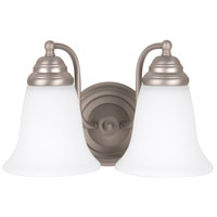 Craftmade 15311BN2-WG Cathryn 2 Light 11 inch Brushed Satin Nickel Vanity Light Wall Light in White Frosted Glass