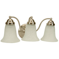 Cathryn 3 Light 18 inch Brushed Nickel Vanity Light Wall Light in Alabaster Glass