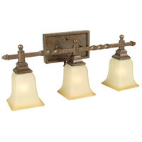 Ryan 3 Light 24 inch Peruvian Bronze Vanity Light Wall Light in Tea-Stained Glass