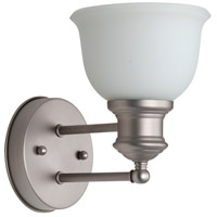 Craftmade 19805BN1-WG Light Rail 1 Light 6 inch Brushed Satin Nickel Wall Sconce Wall Light in White Frosted Glass, Jeremiah