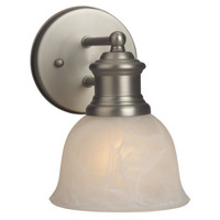 Craftmade 19805BN1 Light Rail 1 Light 6 inch Brushed Satin Nickel Wall Sconce Wall Light in Alabaster Glass