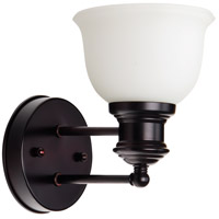 Craftmade 19805OB1-WG Light Rail 1 Light 6 inch Oiled Bronze Wall Sconce Wall Light in White Frosted Glass, Jeremiah