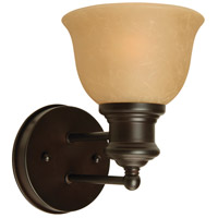 Light Rail 1 Light 6 inch Oiled Bronze Wall Sconce Wall Light in Tea-Stained Glass