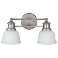 Light Rail 2 Light 16 inch Brushed Satin Nickel Vanity Light Wall Light in White Frosted Glass, Jeremiah