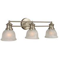 Light Rail 3 Light 26 inch Brushed Satin Nickel Vanity Light Wall Light in Brushed Nickel, Alabaster Glass