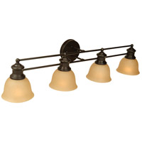 Light Rail 4 Light 35 inch Oiled Bronze Vanity Light Wall Light in Tea-Stained Glass
