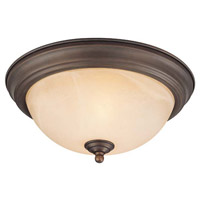 Signature 1 Light 12 inch Oiled Bronze Flush Mount Ceiling Light in Old Bronze, Warm Faux Alabaster Glass