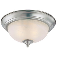 Signature 1 Light 12 inch Satin Nickel Flush Mount Ceiling Light in Faux Alabaster Glass