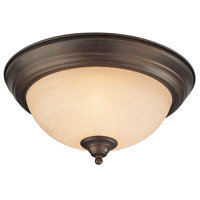 Signature 2 Light 13 inch Old Bronze Flushmount Ceiling Light in Warm Faux Alabaster Glass