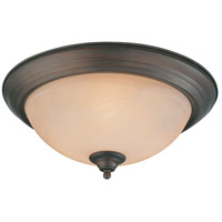 Craftmade 20015-OLB Signature 3 Light 15 inch Old Bronze Flushmount Ceiling Light in Warm Faux Alabaster Glass