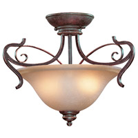 Preston Place 2 Light 18 inch Augustine Semi Flush Mount Ceiling Light in Light Umber Etched