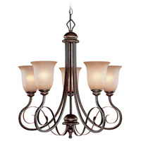 Craftmade 21725-AGT Preston Place 5 Light 25 inch Augustine Chandelier Ceiling Light in Light Umber Etched