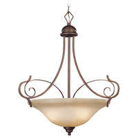 Preston Place 3 Light 21 inch Augustine Inverted Pendant Ceiling Light in Light Umber Etched