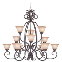 Sheridan 12 Light 49 inch Forged Metal Chandelier Ceiling Light in Light Umber Etched
