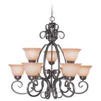Sheridan 9 Light 33 inch Forged Metal Chandelier Ceiling Light in Light Umber Etched