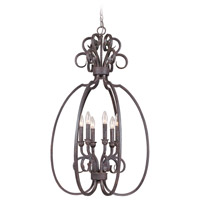Sheridan 6 Light 21 inch Forged Metal Cage Foyer Light Ceiling Light