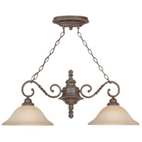 Sutherland 2 Light 36 inch English Toffee Island Light Ceiling Light in Light Umber Etched