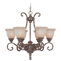 Sutherland 6 Light 28 inch English Toffee Chandelier Ceiling Light in Light Umber Etched